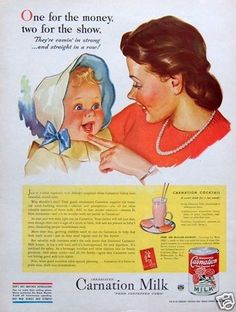 1944 AD: Carnation Evaporated Milk Mom Counts Smiling Baby's Strong New Teeth