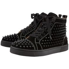 Pre-owned Christian Louboutin 7.5 Spiked Studded High Top Suede Flats... ($649) ❤ liked on Polyvore featuring shoes, sneakers, black, black high top sneakers, suede flats, black suede shoes, black lace up flats and black flats