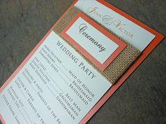 Burlap Wedding Program - Brown  Orange. $2.50, via Etsy.  Ixtle, combinacion de colores