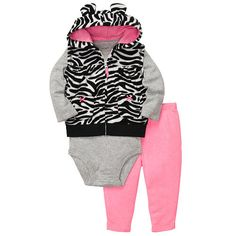 "Carter's Girls 3 Piece Long Sleeve Bodysuit, Zebra Print Hooded Microfleeve Vest, and Pant - Carters - Babies ""R"" Us"