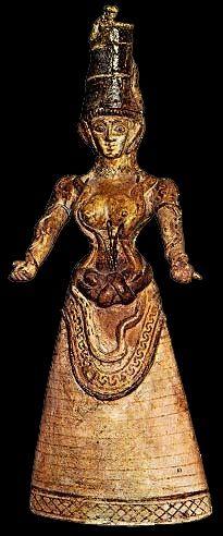 """""""Dea dei serpenti"""", ca 1500 a. C., civiltà minoica (periodo neopalaziale), da Cnosso. Heraklion, Museo Archeologico"""