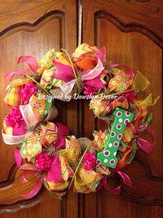 Spring Initial Burlap Wreath by Dawslyn Decor on Etsy & Facebook