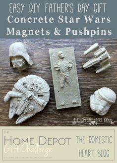 These super simple DIY concrete office magnets and pushpins are the perfect masculine gift. This tutorial will tell you how to make magnets and pushpins in other shapes too, such as flowers, bugs, hearts. Diy Gifts For Men, Diy Father's Day Gifts, Father's Day Diy, Diy Décoration, Easy Diy, Simple Diy, Super Simple, Anniversaire Star Wars, Star Wars Crafts