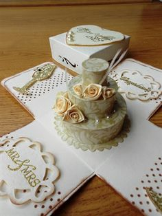 Wedding Cake - Exploding Box Card - ivory roses by: sanjica