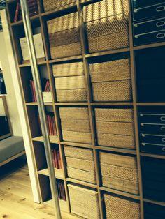 Stacked baskets in open shelves - Muji storage ideas