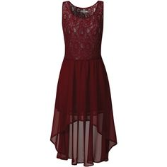 Burgundy Lace Skater Waterfall Dress ❤ liked on Polyvore