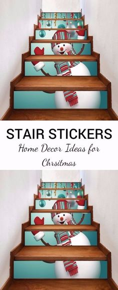 Christmas Snowman Baubles Pattern Decorative Stair Decal 6PCS