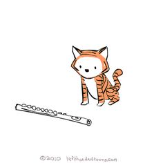 Little Tiger Playing A Flute