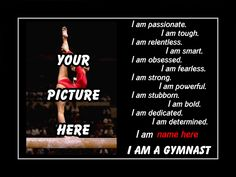 "Personalized Swimming Custom Poster I AM A GYMNAST Photo Quote Wall Art Print 11x14"" Motivation Pride Attributes Qualities - Free USA Ship by ArleyArt on Etsy"