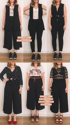 Pair up your black culottes beautifully ! Fat Girl Fashion, Chubby Fashion, Look Fashion, Fashion Outfits, Looks Plus Size, Look Plus, Curvy Girl Outfits, Plus Size Outfits, Summer Outfits