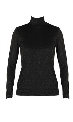 Fitted longsleeve turtleneckwith gold glitter fabric detail. THIS ITEM IS ON  SALE  AND CANNOT BE RETURNED FOR A REFUND BUT CAN BE EXCHANGED Composition: 60% Nylon, 15% Spandex, 25% Metallic Care Instructions: Cold gentle mchine wash Worn with: Galaxy Skirt & Caesura Heel