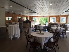 Interior of the York Room in York, Maine. A casual rustic style event and function venue at Fosters Clambakes and Catering.  The room is perfect for guests up to 75 for wedding receptions, business meetings or other social events.