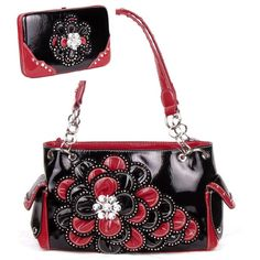 Handbags, Bling & More! Black and Red Rhinestone Flower Pocket Purse W Matching Wallet : Flower Purse Sets