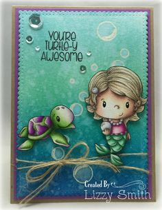 Hello!    I'm just popping in quickly to share a card I made using a stamp set called Little Pixie Under the Sea , from C.C. Designs June r...