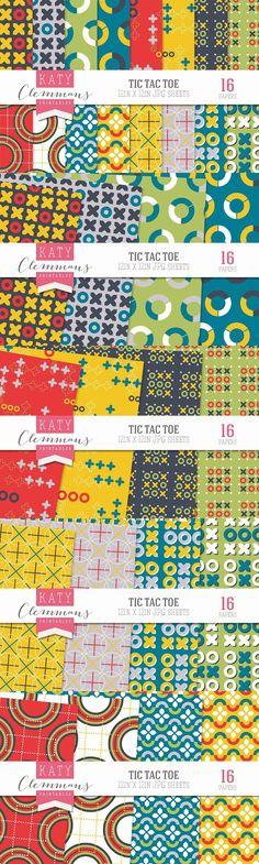 Tic Tac Toe paper pack. Patterns