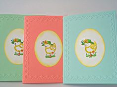 Easter cards Chicken hand stamped card  set of 3 by Wcards on Etsy, $8.00