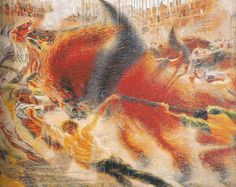 "The City Rises (1930) by Umberto Boccioni  (Museum of Modern Art, NY, NY) - Italian Futurism - Viewed as part of the exhibition ""Italian Futurism, 1909–1944: Reconstructing the Universe at the Guggenheim Museum, NYC, NY 3/1/14"