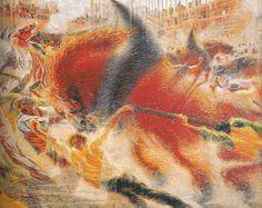 Umberto Boccioni -La Ciudad se levanta, 1930 La ciudad se levanta es el título de esta obra que refleja el mundo de los pintores futuristas. Boccioni realiza una serie de obras con la ciudad como tema. La exaltación del movimiento y la celeridad junto al ímpetu de los colores ofrecen una obra cargada de dinamismo. (Adriana Estrella)