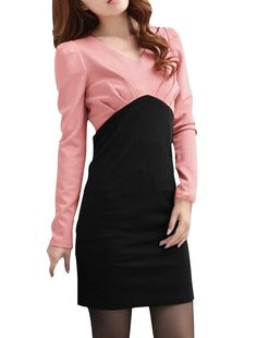 Look stylish and feel comfortable and elegant with this black and pink v neck mini dress with a back zipper. A smart choice for daily or work look. Be comfortable and be very beautiful wearing this dress.   eBay!