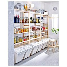 Wooden Rack Open Shelves Kitchen Ideas Botles Mugs Cups Jar Glass Walnut Barstool Oven Dish Ikea Kitchen Shelves – Form And Function Perfectly Combined Part 2 Kitchen Pantry Design, Kitchen Organization Pantry, Kitchen Shelves, Kitchen Storage, Glass Shelves, Ikea Ivar Shelves, Kitchen Ideas, Organization Ideas, Organize Small Pantry