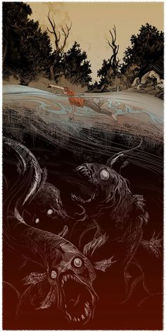 By Aurélien Morinière. This is what I imagine lurks beneath every time I think about swimming.