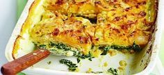 Sweet potato & spinach bake - If you're after some substantial comfort food on a budget then this vegetarian bake is just the thing. Add lamb chops for the meat eaters Bbc Good Food Recipes, Veggie Recipes, Cooking Recipes, Yummy Food, Lunch Recipes, Veggie Meals, Fast Recipes, Sausage Recipes, Steak Recipes