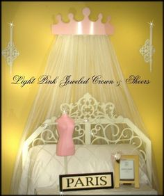 Light Pink Princess Jeweled Crown Tiara Bedroom Canopy with Sheers. $37.99, via Etsy.