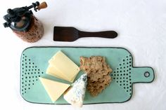 Cheese Board Tray with Geometric Dot Design - Rustic Aqua Mist - Modern Ceramic Serving Dish Home Decor - Ready to Ship