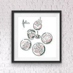 Custom illustration, artwork, graphic design, and gifts Kitchen Art, Restaurants, Decorative Plates, Graphic Design, Frame, Illustration, Artwork, Prints, Picture Frame