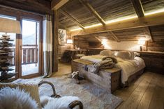 Teppich schlafzimmer ~ Elegantes berghütte design schlafzimmer teppich bett berghütte