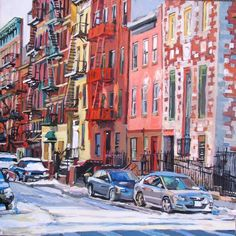 East Village Fire Escapes, Original Painting Gwen Meyerson