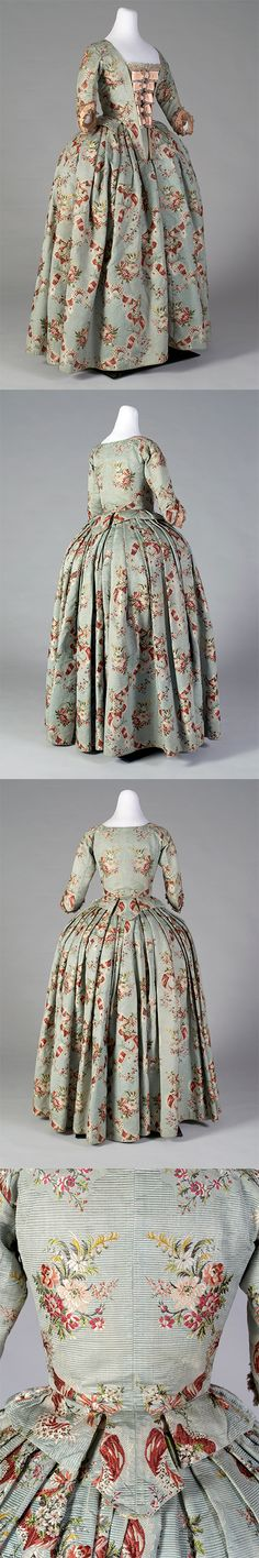 Silk brocade skirt and bodice, ca. 1765 shown with reproduction stomacher. | Kent State University Museum