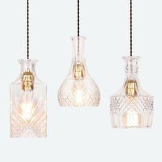 Cut glass bottle Pendant Light #Braided-Cord #ceiling-light #Chandelier