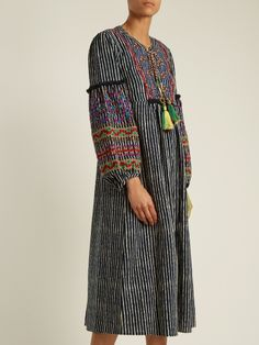 Velvet By Graham & Spencer Ilene embroidered striped cotton-blend dress