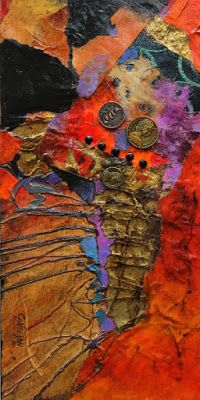 "CAROL NELSON FINE ART BLOG: Contemporary Abstract, Mixed Media Art Painting ""Pocket Change"" by International Mixed Media Abstract Artist Carol Nelson"