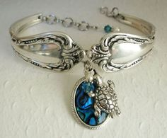 Spoon Bracelet, Chalice 1958, Silver Sea Turtle, Blue Paui Shell & White Pearls: