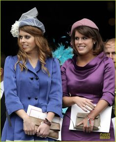 Princesses Beatrice and Eugenie of York at the service of thanksgiving for their grandmother's Diamond Jubilee. Lord bless them, they always try, but they never quite manage to pull off the appropriately princessy look. Eugenie came thisclose, but satin isn't flattering on her and her shoes were too big.  And Beatrice's dress was a size or two too large. They're getting closer, though!