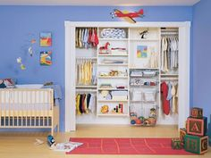 We did similar closet design for our little girl. Love this look for little boys room.