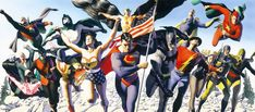 """Justice Society"" a Limited Edition Fine Art Print created and signed by Alex Ross, one of the most renowned painters working in comics today. Alex has captured The Justice Society with 16 of the original members (top row, from left) Green Lantern, The Spectre, Hawkman, Dr. Fate, Starman; (bottom row, from left) The Red Tornado, Johnny Thunder and Thunderbolt, Dr. Mid-Nite, The Atom, Wonder Woman, Superman, Batman, The Flash, Black Canary, Sandman and Hourman."