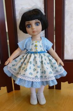 """Blue Flowers Outfit for 10"""" Patsy & Ann Estelle Tonner Doll by Apple"""