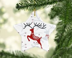 Your place to buy and sell all things handmade Christmas Ornaments To Make, Unique Christmas Gifts, Christmas Tree Decorations, Xmas Crafts, Christmas Deer, Scandinavian Christmas, White Christmas, Christmas Clay, Scandinavian Folk Art