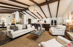 Mila Kunis Hollywood Hills House - Mila Kunis Selling House - House Beautiful #Beams #Chandelier #Lighting