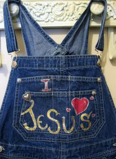 Hand Painted 'BlueJean OverAlls'  'I love by CalligraphicArtisan, $24.00