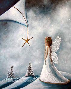 Christmas Angel Holiday Decor Canvas Print White by shawnaerback, $55.00