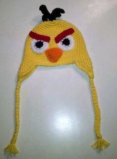 Hand made yellow angry birds hat
