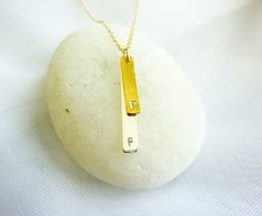 double bar initial necklacegold initial charm by MomentusNY, $49.95