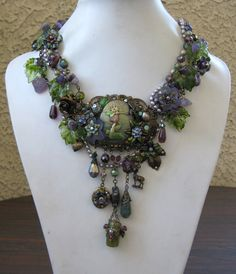 WISTERIA - Explosive signed woodland faerie Art-to-Wear couture set with gemstones forest creatures and locket OOAK