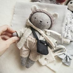 Pet Toys, Baby Toys, Kids Toys, Knitted Teddy Bear, Handmade Stuffed Animals, Fabric Animals, Fabric Toys, Creation Couture, Sewing Dolls