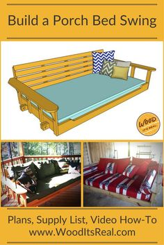 Wood. It's Real. Southern Yellow Pine Porch Bed Swing (screened porch decorating beds)