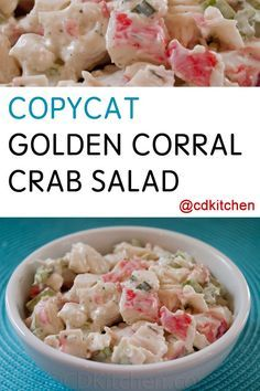 Copycat Golden Corral Crab Salad – Samantha Taylor-Askew Copycat Golden Corral Crab Salad The Golden Corral is known for several of their buffet items but the most reques Crab Meat Salad, Crab Pasta Salad, Crab Meat Pasta, Crab Food, Seafood Pasta, Imitation Crab Recipes, Imitation Crab Salad, Sea Food Salad Recipes, Crab Meat Recipes